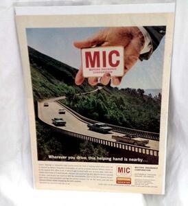 希少!LIFE誌切り抜き★MIC MOTORS INSURANCE CORPORATION 自動車保険の広告 1960年代★ビンテージ雑誌LIFE(ライフ)切抜き