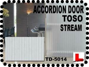 ■TOSO■アコーデオンドア■ポリカ板の様な縦縞シースルーレザー