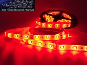 ●赤120センチLEDチューブライト 防水 12V車用 5センチごとにカット可能!3M両面テープ付 バイク アンダーネオン 室内灯 ドアランプに