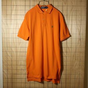 POLO by Ralph Lauren ポロ ラルフローレン 古着 オレンジ コットン 綿100% 半袖 鹿の子 ポロシャツ メンズS