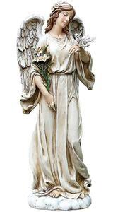 鳩と百合持つ天使 屋外可 彫像 高さ 約62cm ヨセフスタジオ製/ ガーデニング 庭園 園芸 芝生 ピロティ 玄関 プレゼント 新築祝い(輸入品