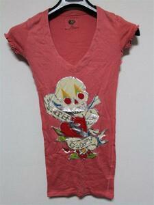 エドハーディー ED HARDY レディース半袖Tシャツ XSサイズ ピンク 新品