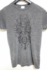 サディスティックアクション SADISTIC ACTION メンズバーンアウト半袖Tシャツ チャコール Sサイズ 新品