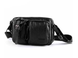 MY BAG ショルダーバッグ 柔らかいレザー メンズ 男性 紳士鞄 メッセンジャーバッグ 自転車鞄 小旅行カバン 軽量実用 9188 ブラック 黒