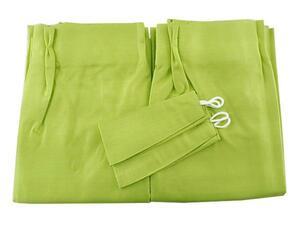 A1302■訳あり ドレープカーテン 防音 1級遮光 遮熱 ブッチャー織り 2枚 幅100x245cm ライムグリーン