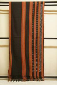 特選稀少品カレン族手織黒地木綿縦縞貝織込布E4924