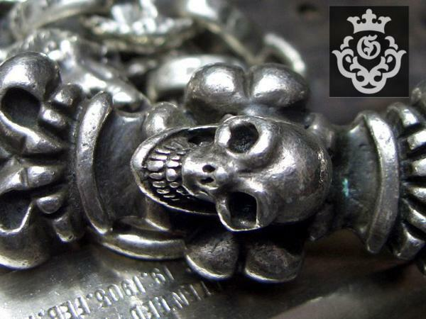 ?90s!Skull On 4Heart Keeper & With 2Lions & Maltese Cross H.W.O Chiseled Anchor Links Wallet Chain卍GABORATORY USA Work? iMaria